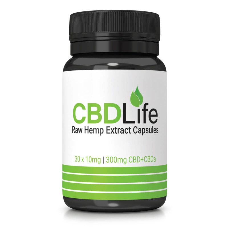 Raw Hemp Extract Capsules 30 x 10mg – 300mg CBD+CBDa