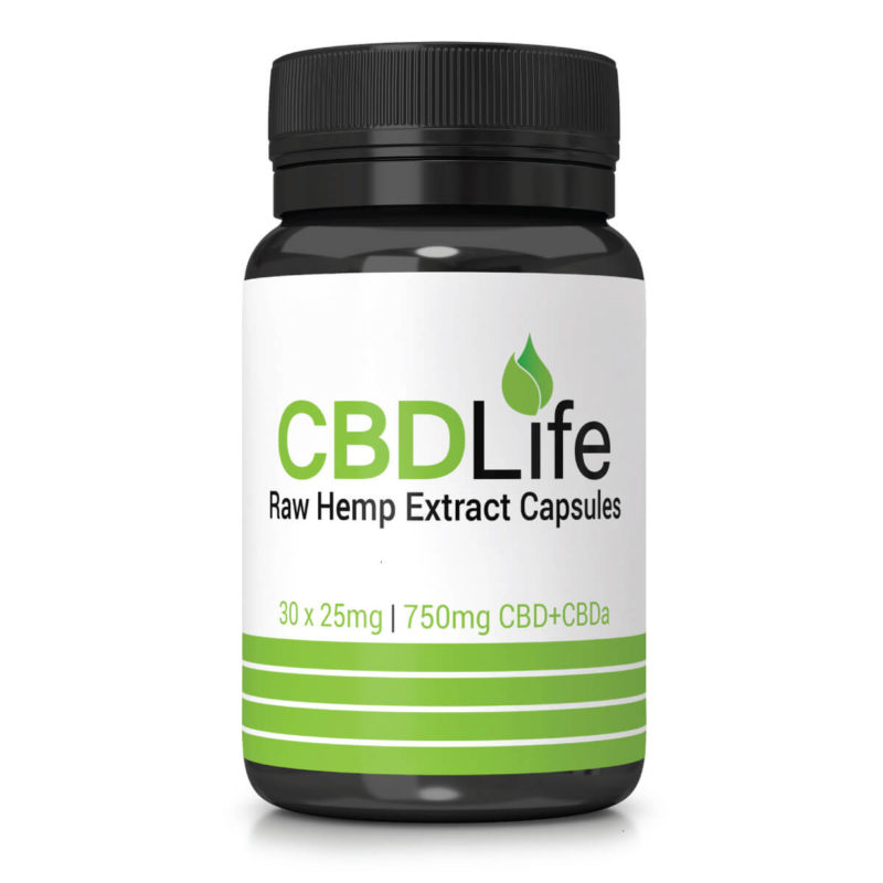 Raw Hemp Extract Capsules 30 x 25mg – 750mg CBD+CBDa